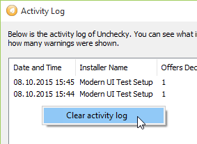 Unchecky clear activity log small